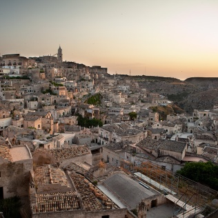 I sassi di Matera al tramonto