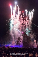 Lo spettacolo per l'accensione della Fòcara la sera del 16 gennaio 2015 a Nòvoli (LE)