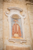 Chiesa di Sant'Ippazio a Tiggiano, affresco sul Campanile raffigurante il Santo.