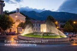 Lagonegro (PZ). la Piazza principale con il Monte Sirino sullo sfondo, la sera del 17 giugno 2017.