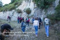 Lagonegro (PZ) sentiero nella faggeta per il Santurario della Madonna del Sirino, fedeli in cammino.