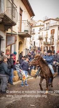 Pignola (PZ), 17 gennaio 2018, festa di Sant'Antonio Abate, la corsa rituale che consiste in tre giri nel centro antico, partendo dalla Chiesa di Sant'Antonio Abate. Ci sono tre categorie distinte: asini, muli, cavalli.